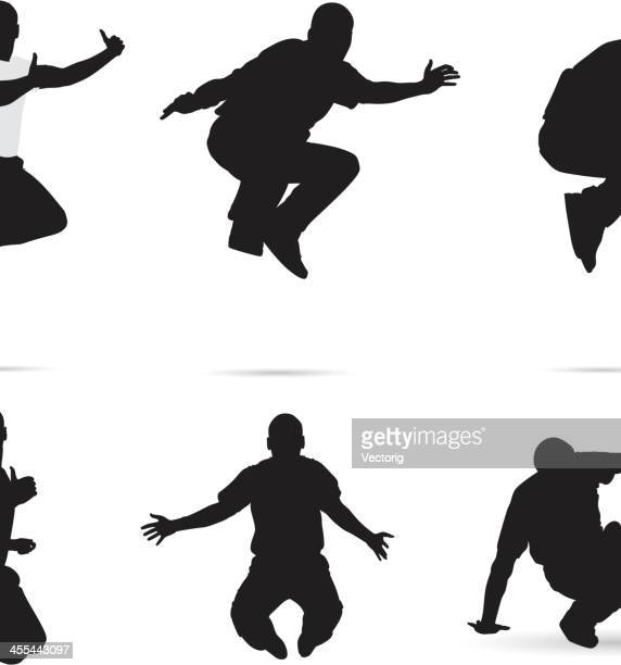 jumping silhouette - field event stock illustrations