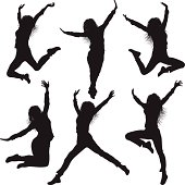 Jumping Silhouettes of Women