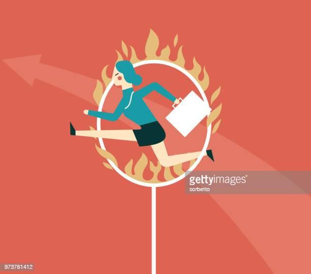 jumping through hoop - businesswoman - plastic hoop stock illustrations