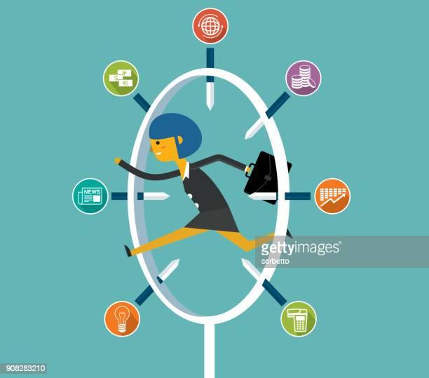 jumping through risk - businesswoman - plastic hoop stock illustrations