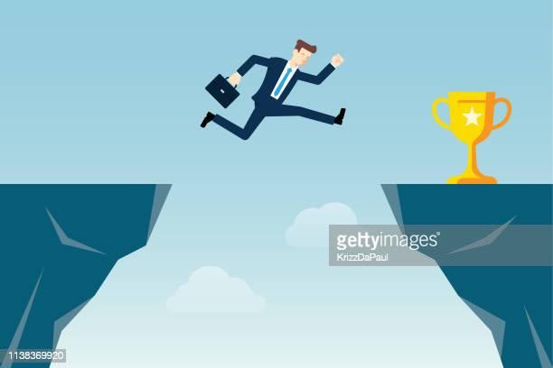 ギャップを飛び越えて - 崖点のイラスト素材/クリップアート素材/マンガ素材/アイコン素材