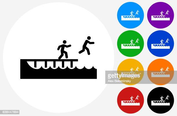 jumping to swim icon on flat color circle buttons - jetty stock illustrations