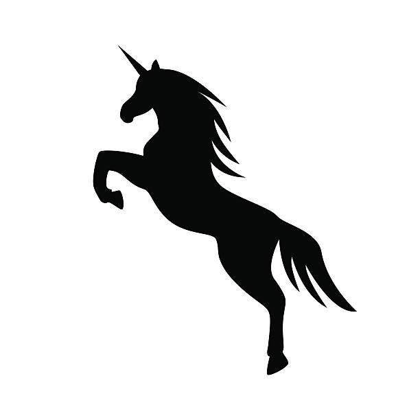 jumping unicorn llustration - vector - unicorn stock illustrations
