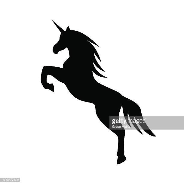 jumping unicorn llustration - vector - unicorn stock illustrations