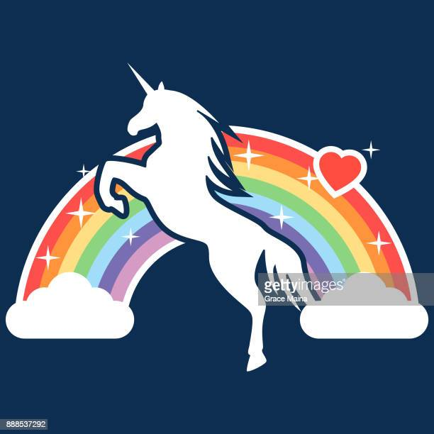 jumping unicorn with a rainbow in the background illustration - vector - unicorn stock illustrations