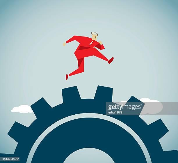 jumping - high jump stock illustrations