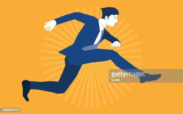 Jumpping businessman