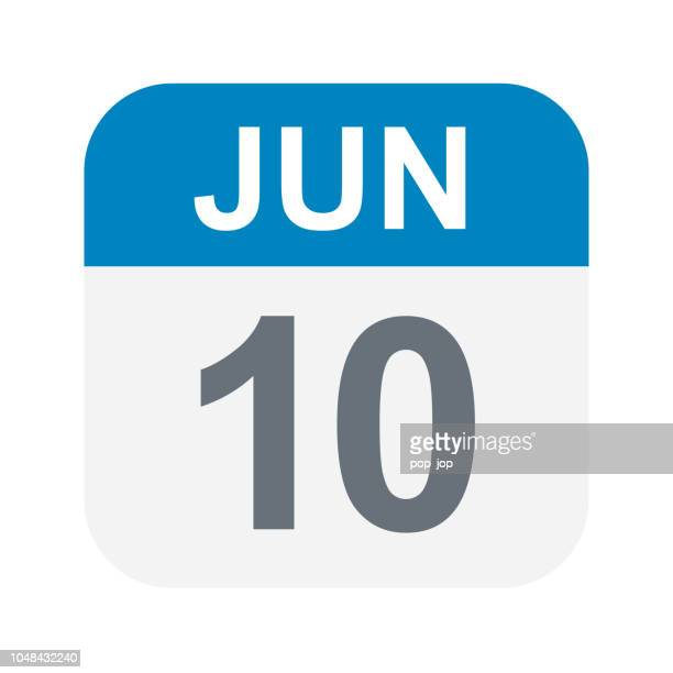 june 10 - calendar icon - june stock illustrations