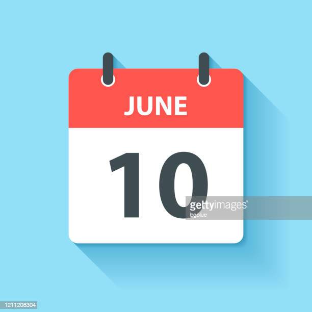 june 10 - daily calendar icon in flat design style - june stock illustrations