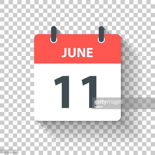 june 11 - daily calendar icon in flat design style - june stock illustrations
