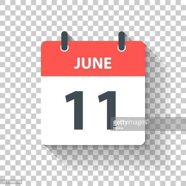 6月11日 - フラットなデザインスタイルで毎日のカレンダーアイコン - 六月点のイラスト素材/クリップアート素材/マンガ素材/アイコン素材