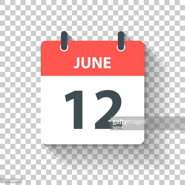 june 12 - daily calendar icon in flat design style - june stock illustrations