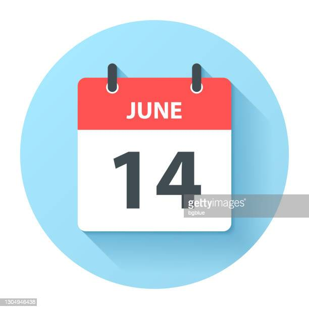 june 14 - round daily calendar icon in flat design style - june stock illustrations