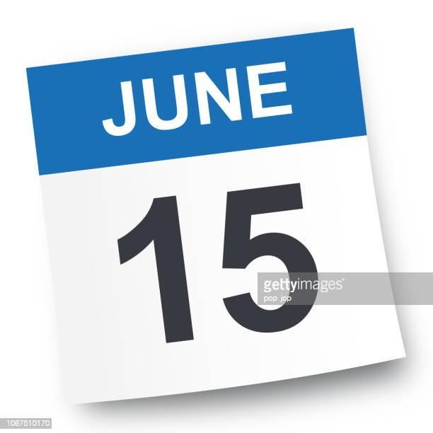 june 15 - calendar icon - june stock illustrations