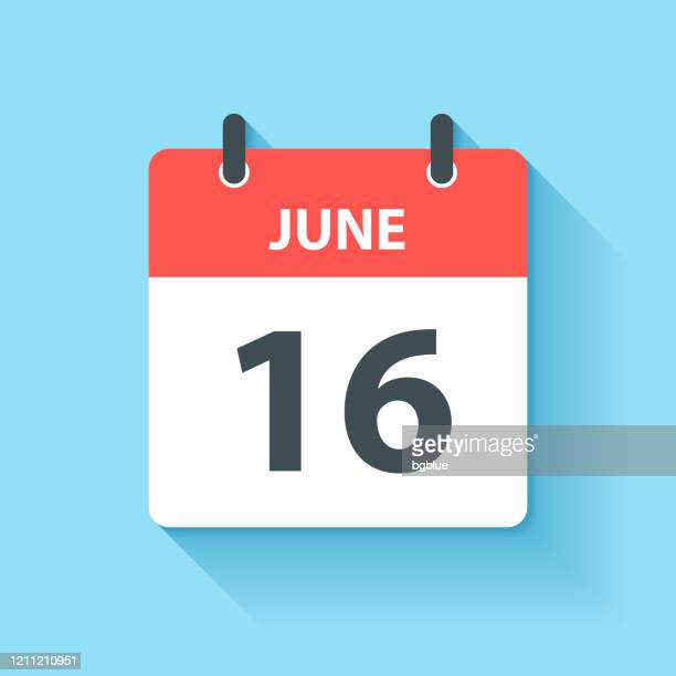 june 16 - daily calendar icon in flat design style - june stock illustrations