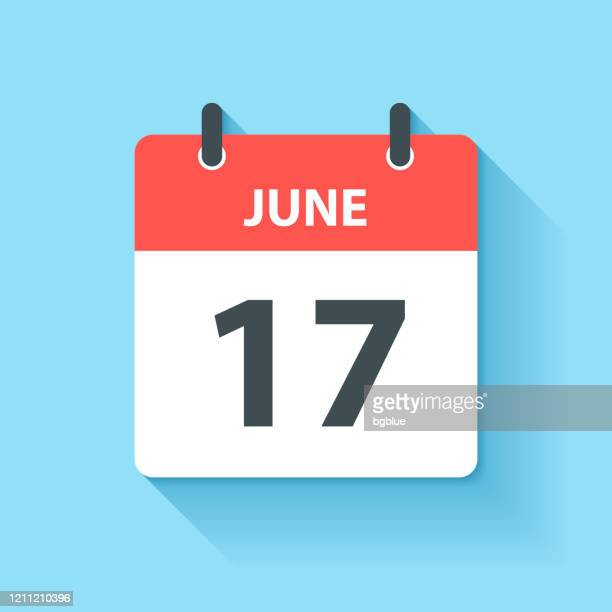 june 17 - daily calendar icon in flat design style - june stock illustrations