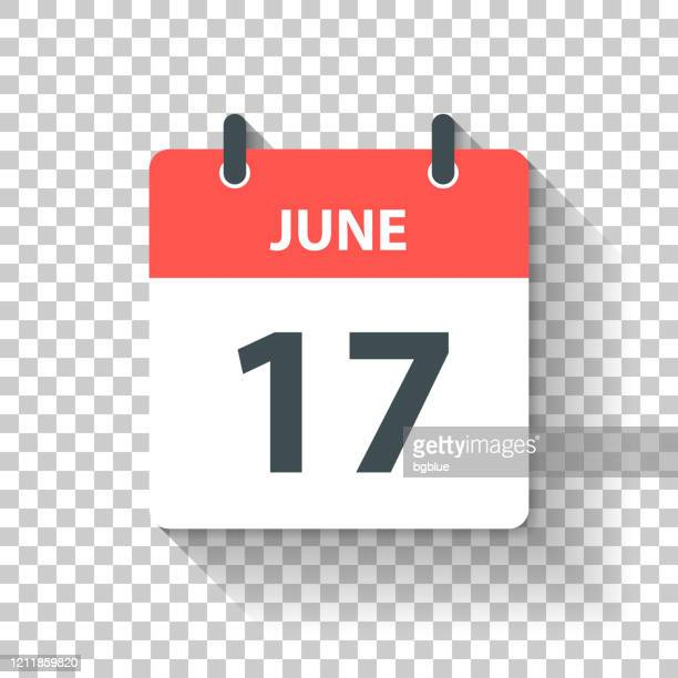 illustrations, cliparts, dessins animés et icônes de 17 juin - icône de calendrier quotidien dans le modèle plat de conception - juin