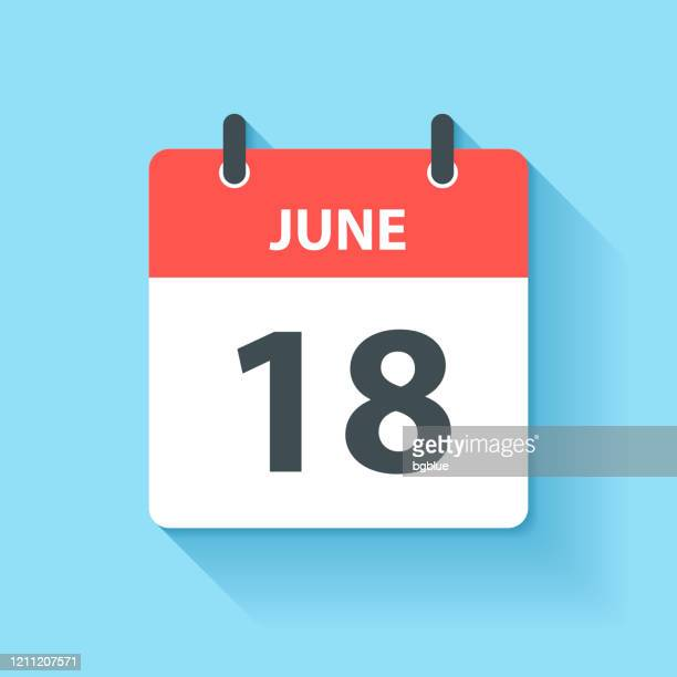 june 18 - daily calendar icon in flat design style - june stock illustrations