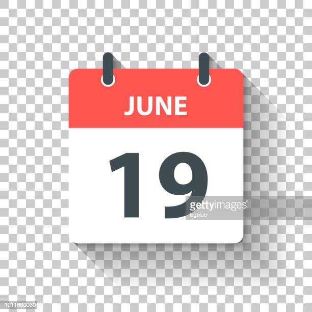 june 19 - daily calendar icon in flat design style - june stock illustrations