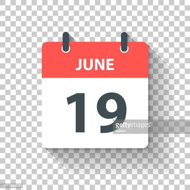 6月19日 - フラットなデザインスタイルで毎日カレンダーアイコン - 六月点のイラスト素材/クリップアート素材/マンガ素材/アイコン素材