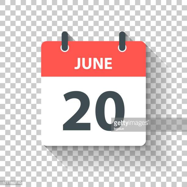 june 20 - daily calendar icon in flat design style - june stock illustrations