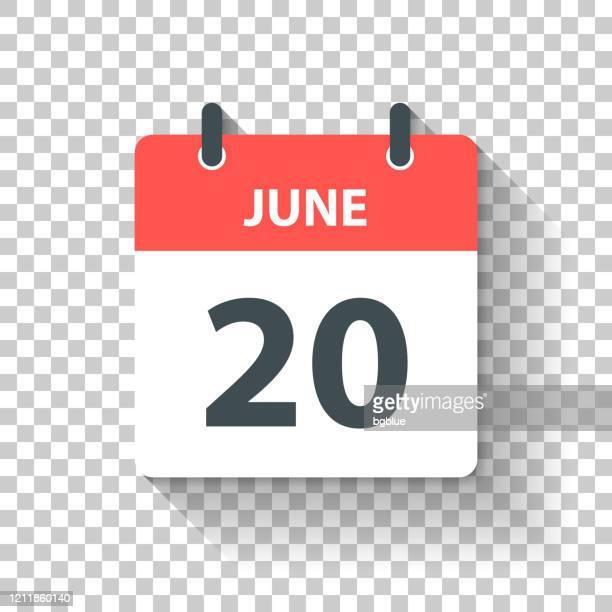 6月20日 - フラットなデザインスタイルで毎日カレンダーアイコン - 六月点のイラスト素材/クリップアート素材/マンガ素材/アイコン素材