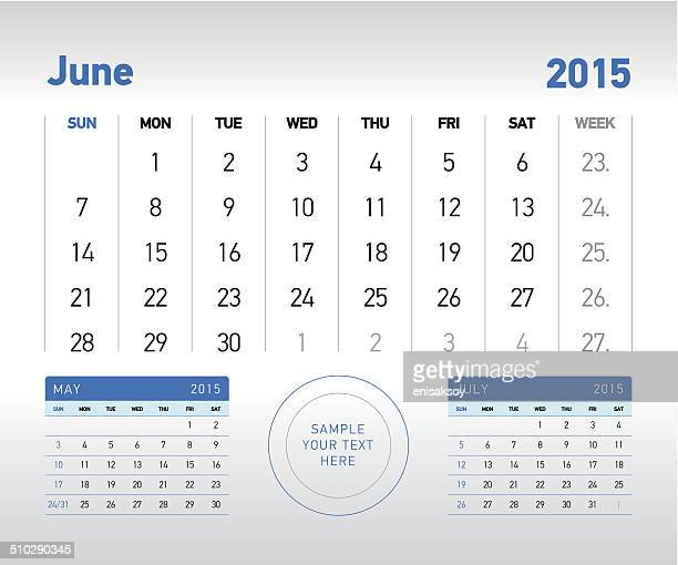 ilustraciones, imágenes clip art, dibujos animados e iconos de stock de de junio de 2015 calendario de escritorio - 2015
