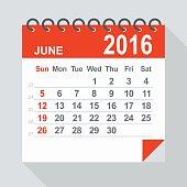 June 2016 calendar - Illustration