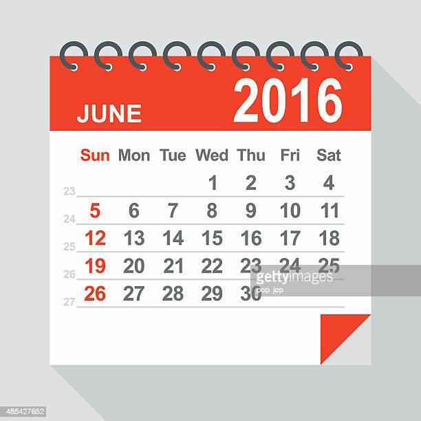 june 2016 calendar - illustration - 2016 stock illustrations, clip art, cartoons, & icons
