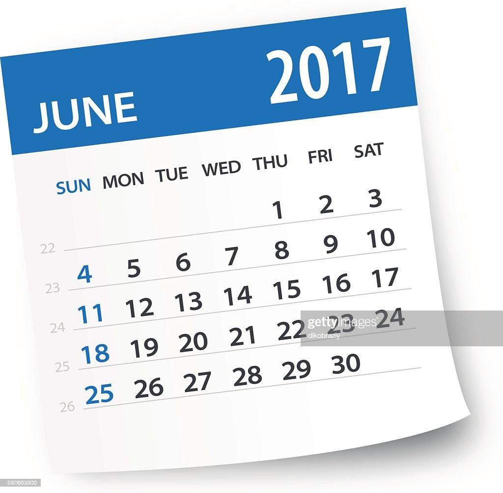 June 2017 calendar leaf - Illustration