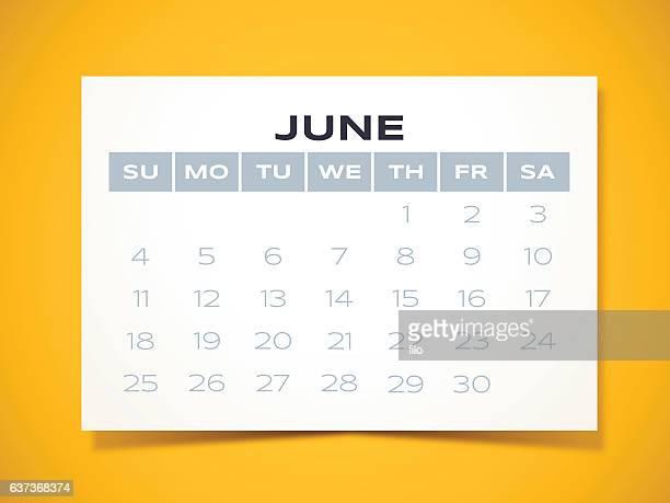 june 2017 calendar - monthly event stock illustrations