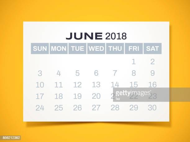 june 2018 calendar - june stock illustrations