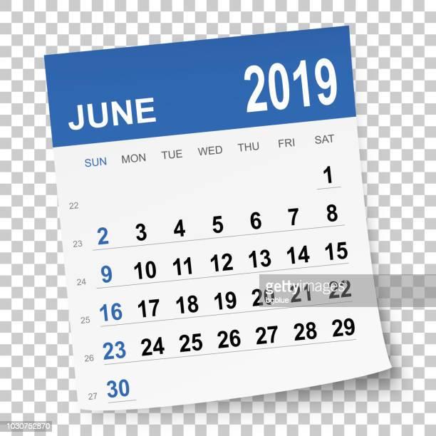 june 2019 calendar - june stock illustrations