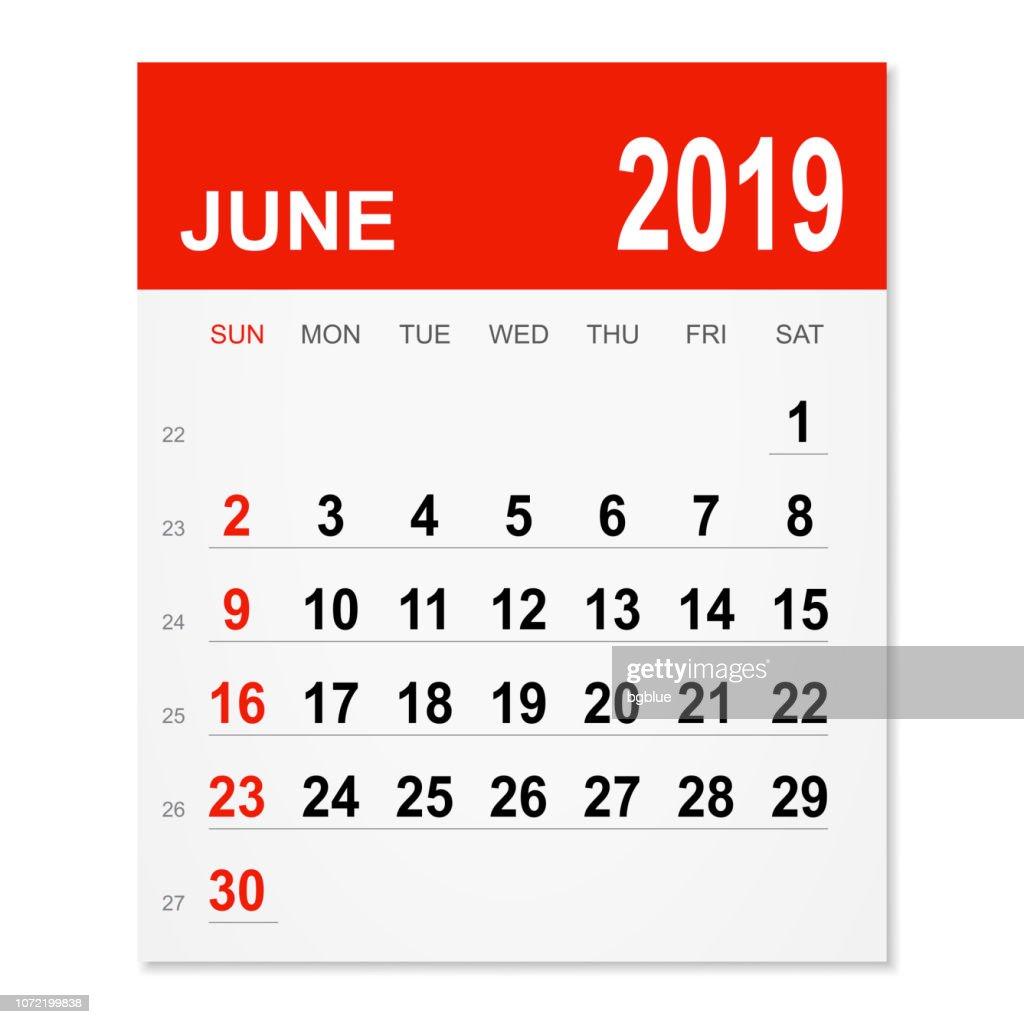 June 2019 Calendar Vector Art Getty Images