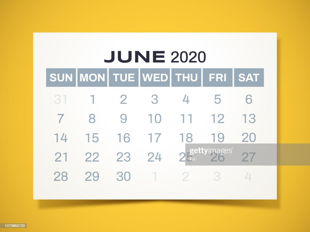June 2020 Calendar Vector Art Getty Images