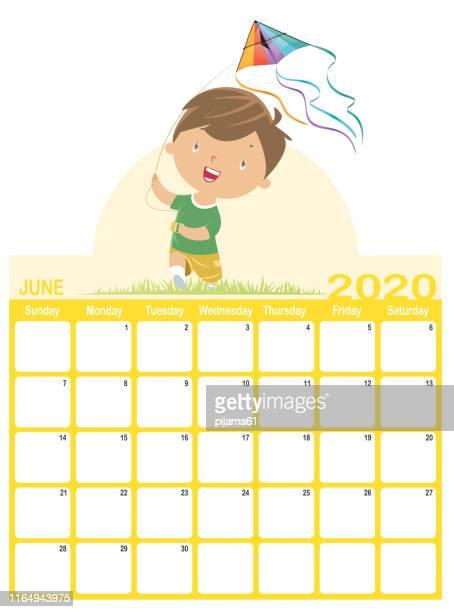 june 2020 calendar - kite toy stock illustrations