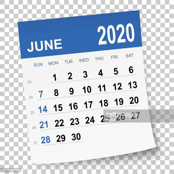 june 2020 calendar - june stock illustrations