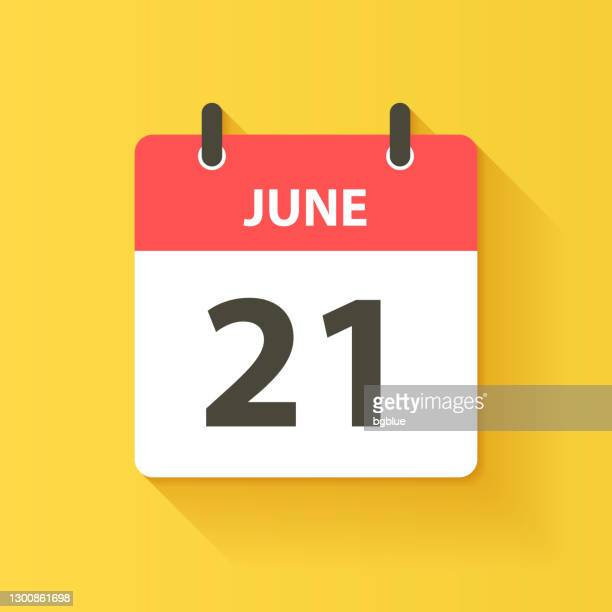 june 21 - daily calendar icon in flat design style - june stock illustrations