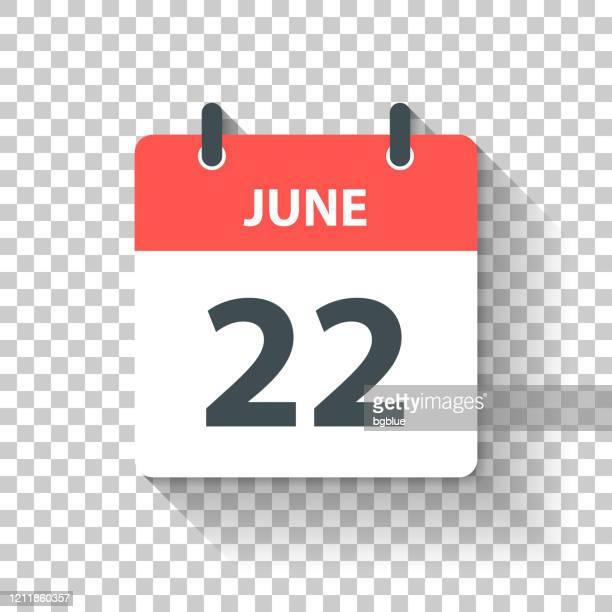illustrations, cliparts, dessins animés et icônes de 22 juin - icône de calendrier quotidien dans le modèle plat de conception - juin