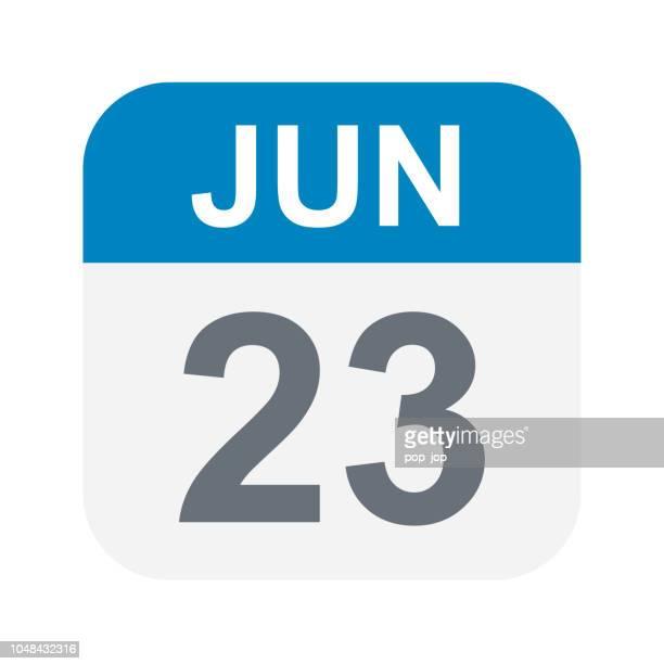 6 月 23 日 - カレンダー アイコン - 六月点のイラスト素材/クリップアート素材/マンガ素材/アイコン素材