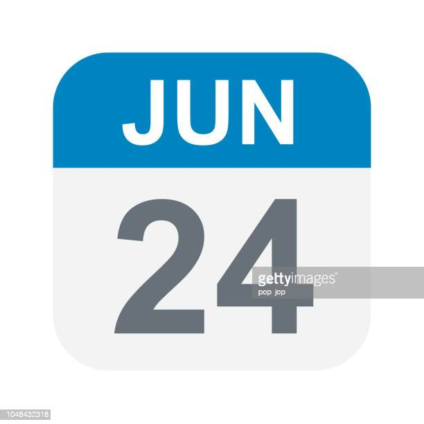 illustrations, cliparts, dessins animés et icônes de 24 juin: icône de calendrier - juin