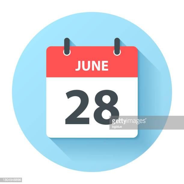 illustrations, cliparts, dessins animés et icônes de 28 juin - icône ronde de calendrier quotidien dans le modèle plat de conception - juin