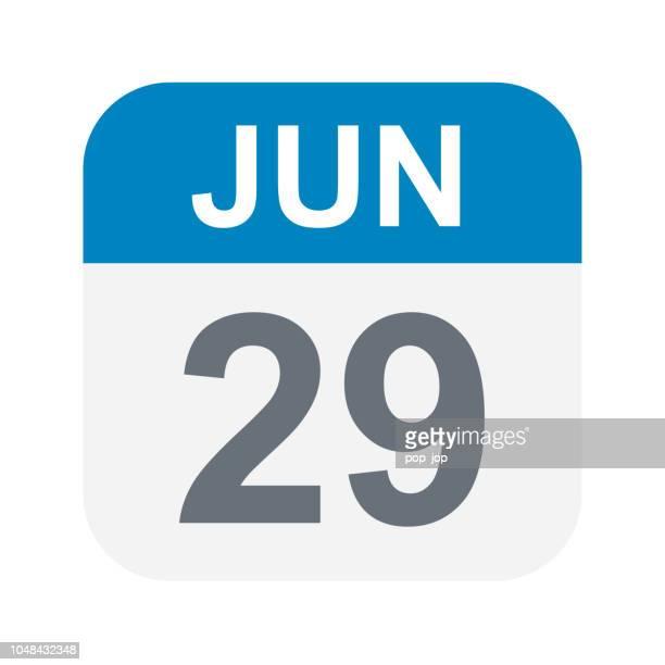 june 29 - calendar icon - june stock illustrations