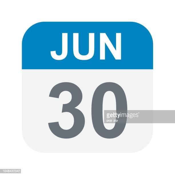 illustrations, cliparts, dessins animés et icônes de 30 juin - icône de calendrier - juin