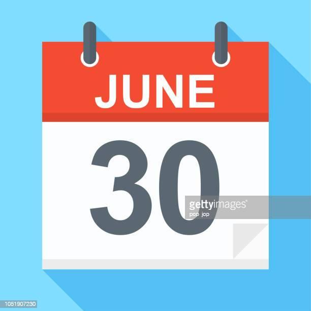 6 月 30 日 - カレンダー アイコン - 六月点のイラスト素材/クリップアート素材/マンガ素材/アイコン素材