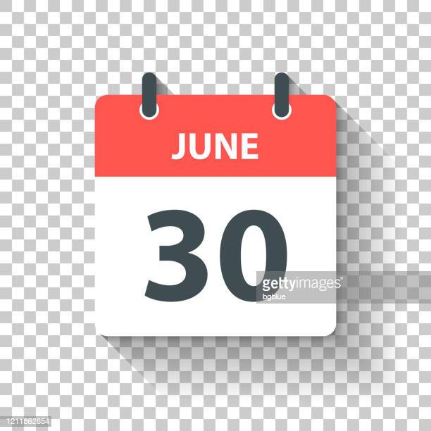 june 30 - daily calendar icon in flat design style - june stock illustrations