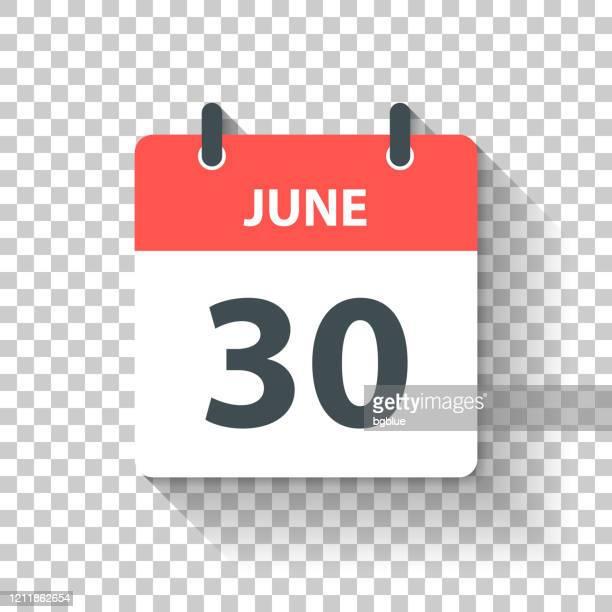 6月30日 - フラットなデザインスタイルで毎日カレンダーアイコン - 六月点のイラスト素材/クリップアート素材/マンガ素材/アイコン素材