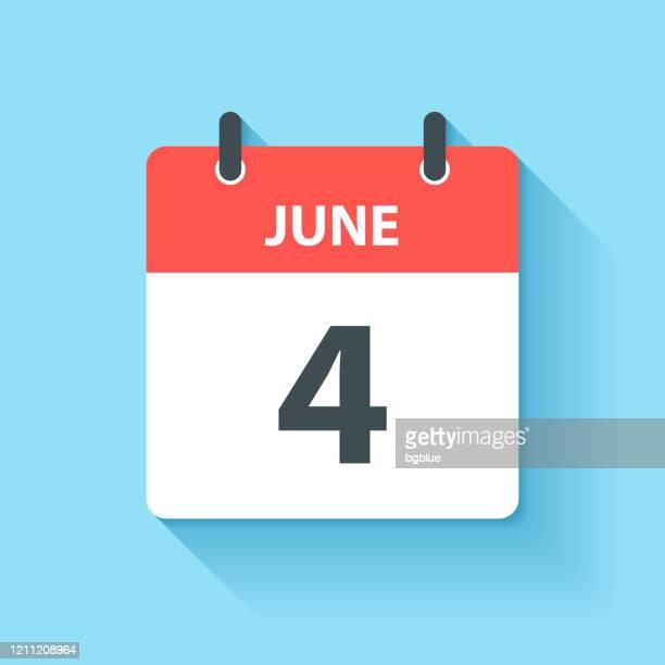 illustrations, cliparts, dessins animés et icônes de 4 juin - icône de calendrier quotidien dans le modèle plat de conception - juin