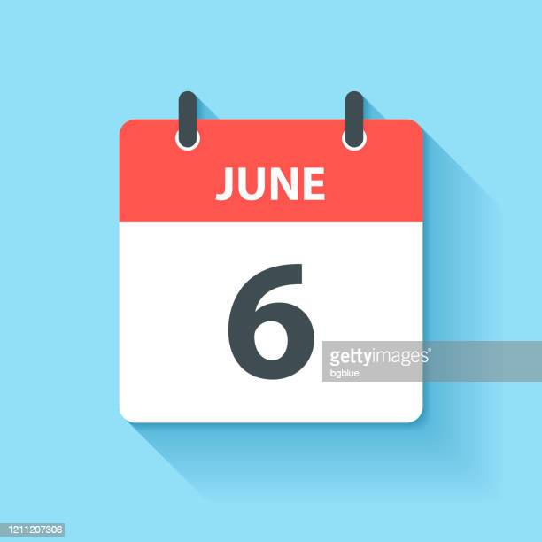 june 6 - daily calendar icon in flat design style - june stock illustrations