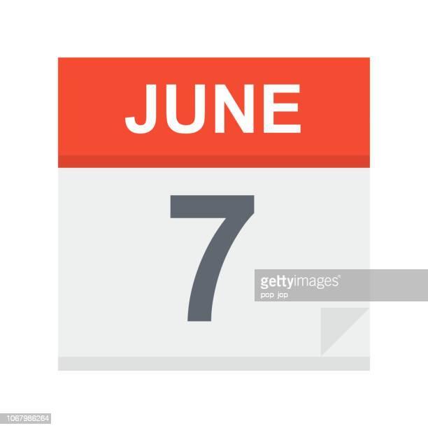 6 月 7 日 - カレンダー アイコン - 六月点のイラスト素材/クリップアート素材/マンガ素材/アイコン素材
